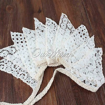 Vintage Good Wedding Decoration Bunting Vintage Style White Lace Banner 10 Flags