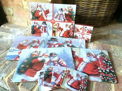 Santa and Snowman Placemats and Coasters - New for 2016 - Set of 4 - Gift Boxed