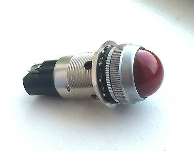 "Vintage RED Beehive dash gauge panel light Hot Rod 1"" rare stock old Dialco"