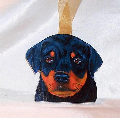 "Rottweiler Rottie Dog Original Hand Made Wood 4"" Christmas Ornament Puppy #2"