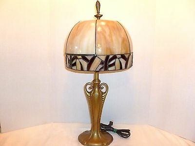 ANTIQUE Cast Metal ART NOUVEAU 3-way TABLE LAMP w/ SLAG Stained GLASS SHADE