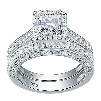 2ct Princess White CZ 925 Sterling Silver Wedding Band Engagement Ring Set 5-10