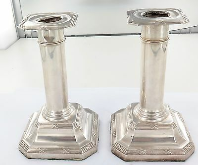 .1913 Matching Pair Hallmarked English Sterling Silver Candlestick Holders