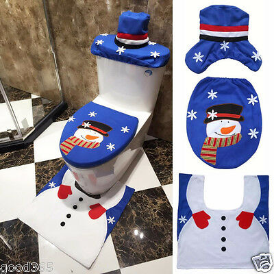 3pcs Fancy Snowman Toilet Seat Cover and Rug Bathroom Set Christmas Decor US Lot