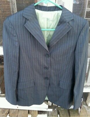 NWT WELLINGTON COLLECTION $99 Kids 18 Horse Show Jacket Coat Gray w/Olive Stripe