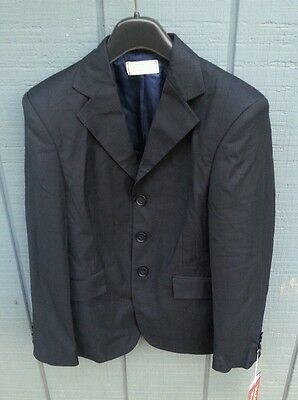 NWT WELLINGTON COLLECTION $99 SZ 14F Washable Horse Show Jacket Coat Navy Plaid