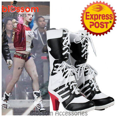 K266 Harley Quinn Boots Suicide Squad Shoes Heels DC Comics Halloween Costume