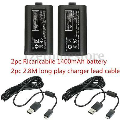 2x Rechargeable 1400mAh Battery Pack + 2x USB Lead Cable For XBOX ONE Controller
