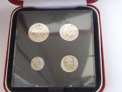 Maundy coin cased set 1985 QEII - 4 x genuine silver COINS - aUNC condition -898