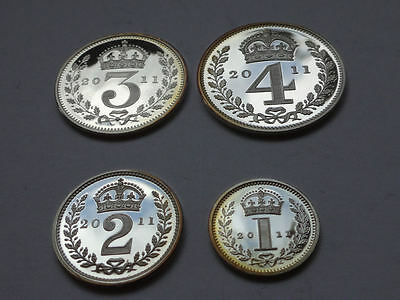 Maundy coin cased set 2011 QEII - 4 x genuine silver COINS - aUNC condition -895