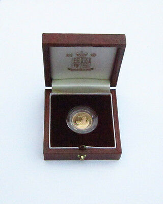 1993 CASED ROYAL MINT BRITANNIA 1/10th GOLD  PROOF £10 COIN