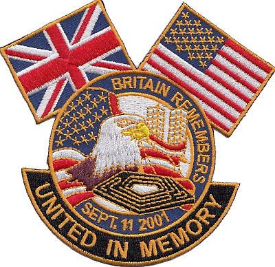 Britain Remembers 911 9/11 Twin Towers New York Embroidered Blazer Badge Patch
