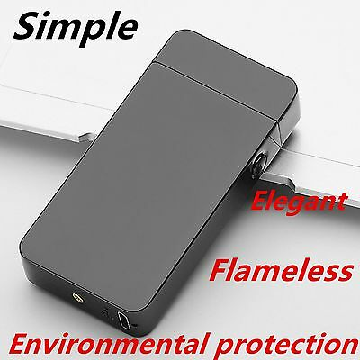 USB Electric Dual Arc Metal Flameless Torch Rechargeable Windproof Lighter#CH~