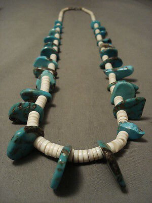 Early 1900's Vintage Santo Domingo Turquoise Shell Necklace Old