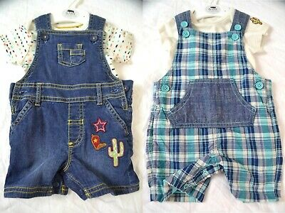 M&S Marks & Spencer baby girls boys t shirt dungaree shorts set summer cute top
