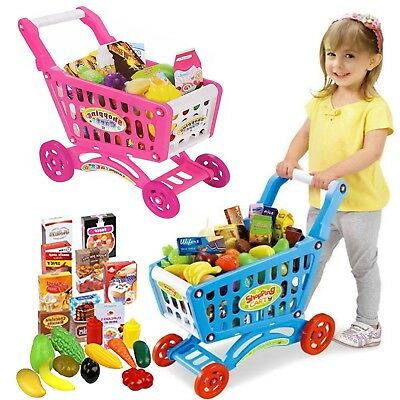 Children Shopping Trolley Cart Play Food Set Kids Pretend Shop Push Along Toy