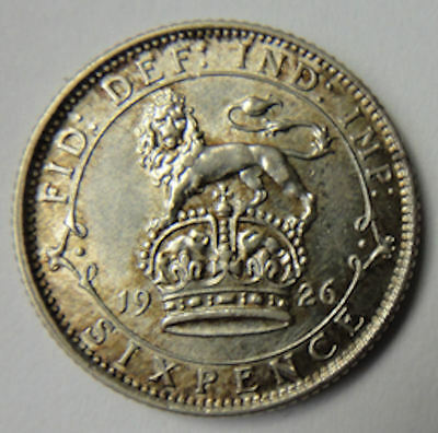 George V .500  silver SIXPENCE 6d coin 1926 ~ gEF condition scr - 195