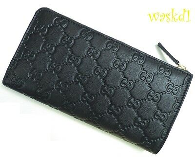 GUCCI large Black Leather GG GUCCISSIMA gold zip Zip-Around wallet NIB Authentic