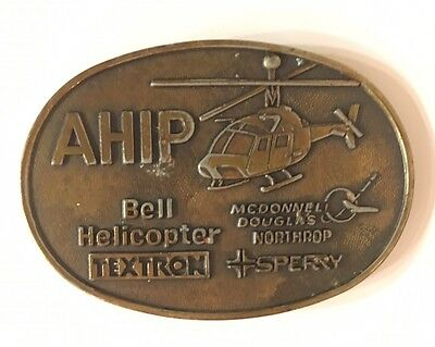 Vintage Bell Helicopter AHIP OH-58 Kiowa Warrior Belt Buckle Army Attack Scout