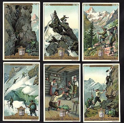 Mountain Climbing In The Alpes Cards Set 1897 Liebig Mountaineering Alpinisme