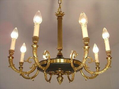 Stylish 8 Light Brass French Empire Chandelier Vintage Lamp Ancient Antique