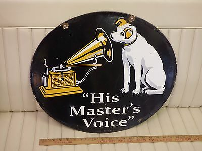 """1930s RCA """"His Master's Voice"""" Nipper 2-sided Oval Porcelain Dealer Sign ORIGNAL"""