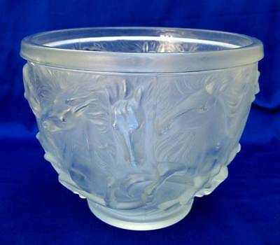 VINTAGE BAROLAC FRENCH ART DECO FROSTED GLASS POSEIDONS HORSES LARGE BOWL 1930's