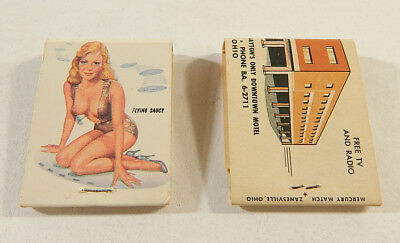 "Lot of (2) Vintage Matchbooks ^ Pin Up Girl ""Flying Saucy"" and Key Motel"