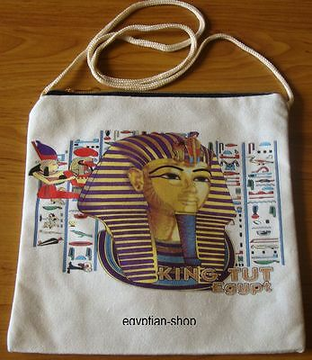 Egyptian Tote Shoulder Bag - KING TUTANKHAMUN- Cream with Zip Top. NEW Pharaonic