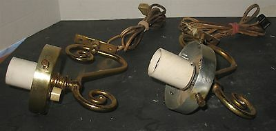 2 Vintage Ornate Lacquered Brass Wall Electric Fixtures Sconces Lamps Refurbish