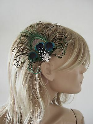 """MADE IN UK Peacock Feather Fascinator Hair Clip Navy Blue Green Xmas Party """"Jay"""""""