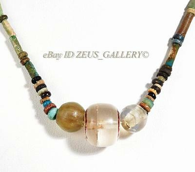 Ancient EGYPTIAN Faience MUMMY Bead, Glass, Carnelian Stone Necklace 500 BC