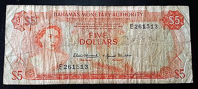 1968 Bahamas $5 Five Dollars Banknote *SCARCE* - P-29 - FREE COMBINED S/H