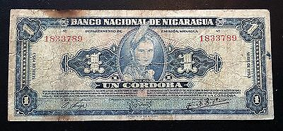 NICARAGUA: 1953 1 Cordoba Banknote P-99a - FREE COMBINED S/H