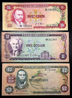 JAMAICA: 1960 1987 50 cents $1 $2 Banknotes, P-53 P-59 P-69 - FREE COMBINED S/H
