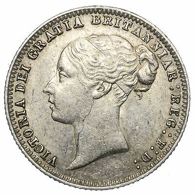 1879 Sixpence - Victoria British Silver Coin - V Nice