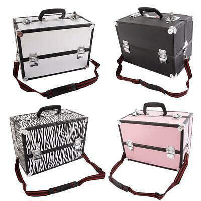 Large Portable Aluminum Beauty Cosmetic Makeup Jewelry Carry Case Salon Box New