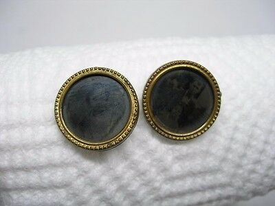 2 Antique Late 1800's To Early 1900's Tin Type Mourning Pins