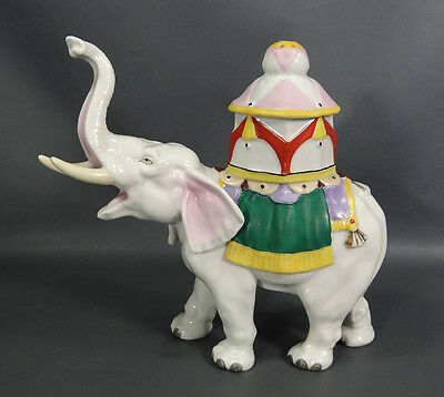 Antique German Aerozon Porcelain Perfume Lamp Indian Elephant Figurine W Pagoda