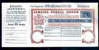 Jamaica, 2/6d Postal Order, Two Pence Poundage, with counterfoil.