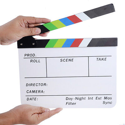 "Neewer Acrylic Plastic 10x12""/25x30cm Dry Erase Film Clapboard with Color Sticks"