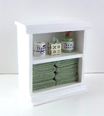 Dolls House Shelf Unit with Sage Green Accessories Miniature Bathroom Furniture