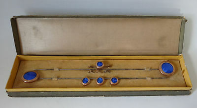 Victorian cased set enamel large folding hat pins Brooch and buttons etc