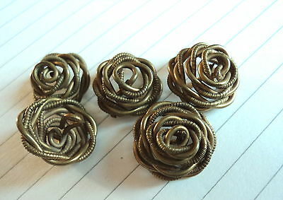 Set Of 5  Stunning Victorian Solid Brass Twisted Rose Wire Buttons