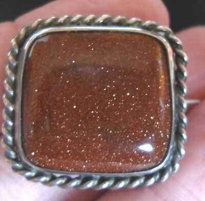 Beautiful Antique Victorian Silver Mounted Cabochon Sunstone / Goldstone Brooch
