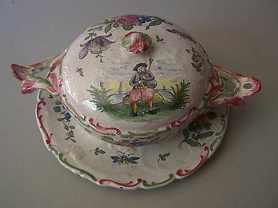 CA, Alcide Chaumeil n Quimper  covered floral and Breton bowl with underplate