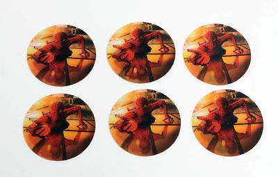 Lot of (6) 2001 Spider-Man The Movie Lenticular Motion Promo Sticker Discs Nm/Mt