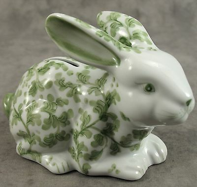 Porcelain Green & White Leaf Floral Bunny Rabbit Bank Figurine Andrea By Sadek