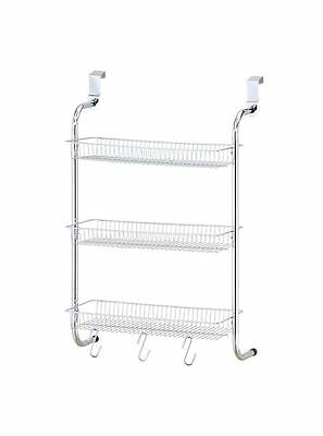Chrome Plated 3 Tier Bathroom Shower Shelf Basket Over The Door Hanging Caddy
