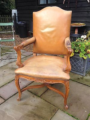 French Leather Louis Quinze Style Armchair
